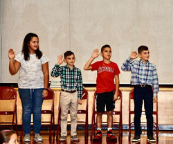 Kensico student council officers being sworn in